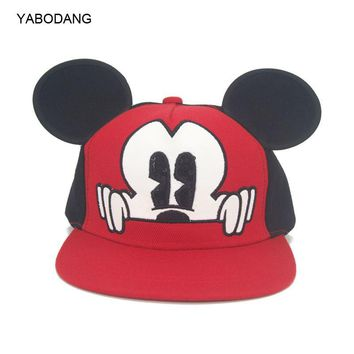 Trendy Winter Jacket 2018 Hot Mickey ear hats children snapback Caps baseball Cap with ears Funny Hats spring summer Autumn hip hop boy hats caps AT_92_12