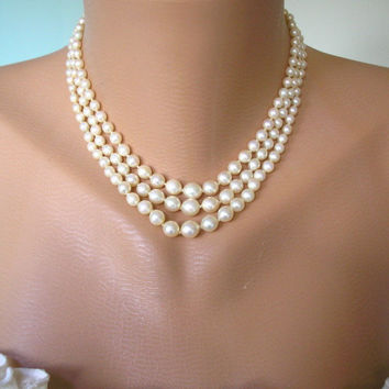 Art Deco Jewelry, Great Gatsby Jewelry, Downton Abbey, Pearl Necklace, Marcasite, 3 Strand, Bridal Pearls, Wedding Jewelry, Cream Pearls