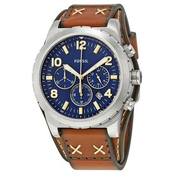 Fossil Oakman Blue Dial Mens Chronograph Watch CH3081