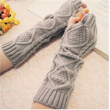 Women Knitting Wool Long Gloves [8833926028]