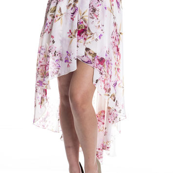 Floral and Chiffon Waterfall Skirt