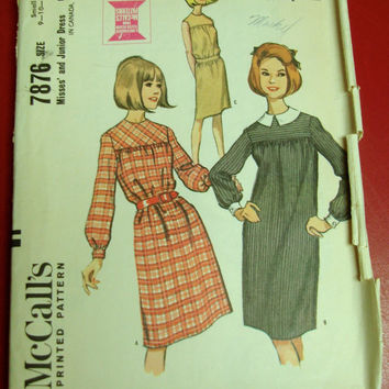 1960s Dress Sewing Pattern McCalls 7876 Sz9-11 Bust 30-31 Dolly Look Sleeveless Yoke
