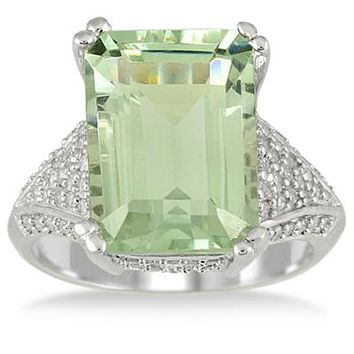 7.20 Carat Emerald Cut Green Amethyst and Diamond Ring in 10K White Go