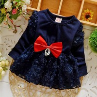 Newborn baby girls princess dress hello kitty Infant's clothes Big bowknot lace rose flowers