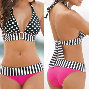DCCKHQ6 2017 Sexy Women Swimwear Halter Bandeau Bikini Set Two Piece Push-Up Padded Female Dot design Bra Swimsuit Beach Bathing Suit
