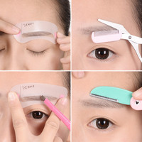 4 in 1 girls Eyebrow Trimmer set professional draw eyebrows brow card eyebrow pencil eyebrow scissor makeup tools XM02