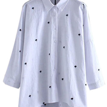 White Embroidered Detail Shirt