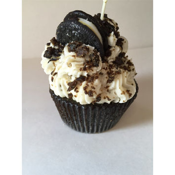 Jumbo Cupcake Candle Scented in Cookies & Cream - Hand Designed Cookies and Cream Cupcake Candle With Oreo Type Cookie on Top