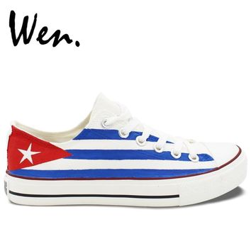 Wen Design Custom Hand Painted Shoes Cuba Flag Low Top Men Women's White Canvas Sneakers for Birthday Gifts