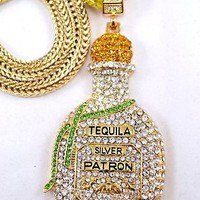 "MENS Hip Hop Cubic Zirconia Bling Tequila Bottle Charm-Rhodium Necklace 36"" Fran"