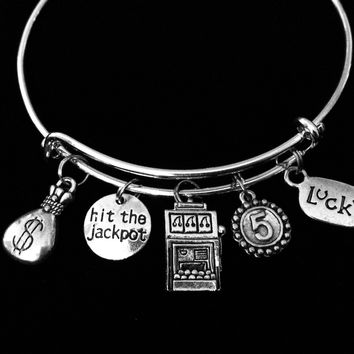 Jackpot Casino Slot Machine Adjustable Charm Bracelet Expandable Bangle Lucky Gambling Jewelry One Size Fits All Gift