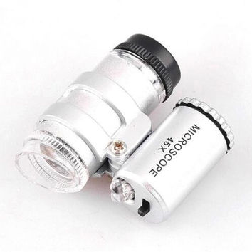 First-rate New Silver Mini 2 LED Pocket Microscope Magnifier Jeweler Loupes LS