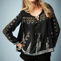 Kate Moss for Topshop Folk Smocked Blouse
