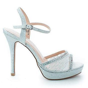 Isabel55 Silver Lace By Blossom, Sparkling Rhinestone Studded Lace Stiletto Heel Pumps