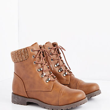 Cognac Sweater Trim Hiking Boot
