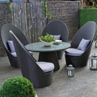 Outback Co. Asahi Ebony All Weather Wicker Dining Chat Set - Dining Patio Sets at Hayneedle