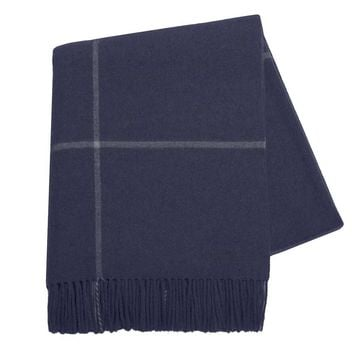 Windowpane Cashmere Throw Navy by Lands Downunder