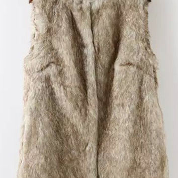 Apricot Sleeveless Faux Fur Vest