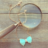 Pree Brulee - Mint Bow Long Necklace