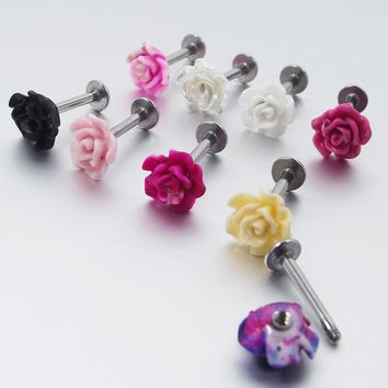 1 Piece 16G 1.2mm Stainless Steel Labret Rings Rose Flower Tragus Earring Lip Ring Earrings Body Piercing Jewelry