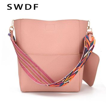 SWDF New Brand Designer Women Bag Vintage Strap Smooth and Comfortable Shoulder Bag Warm Colors Bucket Handbag