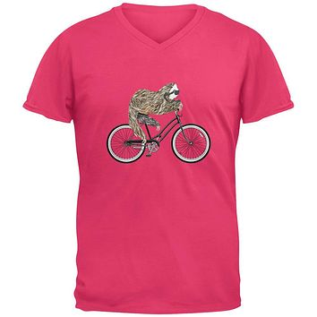 Bicycle Sloth Mens V-Neck T Shirt