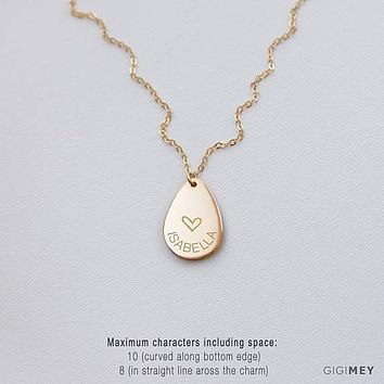 Personalized Teardrop Necklace, Friends Gift, Name