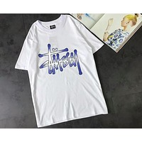 Stussy 2018 new gradient printing men and women fashion T-shirt short sleeve F-XMCP-YC white