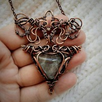 Delicate Copper pendant with a large fluorite. Lace or copper chain as a gift. Wire wrapped pendant. A unique gift for mom or sister. Boho