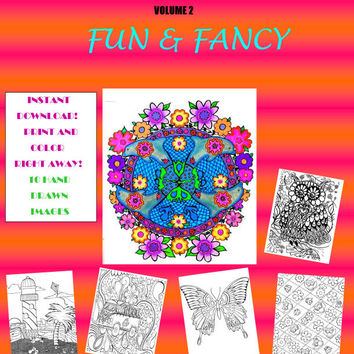 Adult Coloring Book - 10 Original Hand Drawn Images - Coloring for Grown Ups - Instant Download