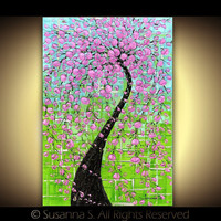 Large Modern pink cherry blossoms tree on green by ModernHouseArt