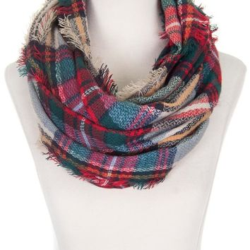 Beige Red Green Plaid Infinity Scarf