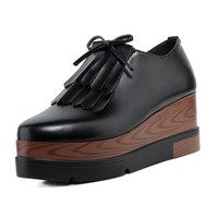 Vintage Oxfords Shoes For Women Platform Creepers