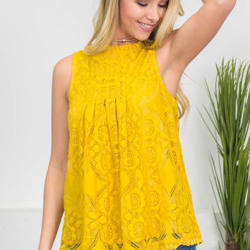 Vintage Gold Floral Lace Top
