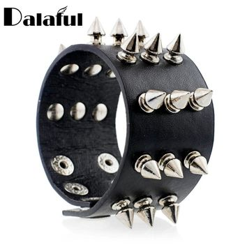 Punk Gothic Rock Three Row Metal Cone Stud Spikes Rivet Leather Wristband Bangle Wide Cuff Bracelet