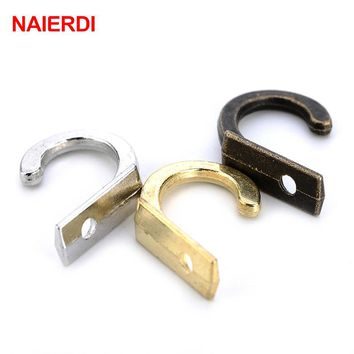 NAIERDI 10PCS Small Antique Hooks Wall Hanger Curved Buckle Horn Lock Clasp Hook For Wooden Jewelry Box Furniture Hardware