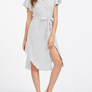 White Stripe Ruffle Sleeve Tie Waist Shirt Dress