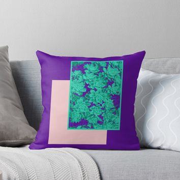 'Neon Aeonium #redbubble #succulent' Throw Pillow by designdn