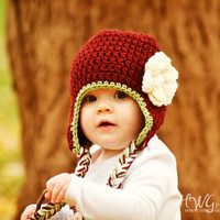 0-3 months Crochet Girls Earflap Hat, Flower Beanie Baby Hat, Christmas Holiday Beanie Hat, Photo Prop, Burgundy Cream and Green