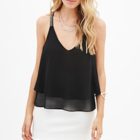 Beaded T-Back Chiffon Cami
