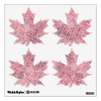 Maple leaves wall decals - Red and white scrolls