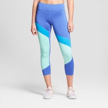 Women's Performance Color Block Capri Leggings - JoyLab™ Dazzling Blue