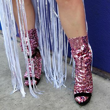Rose pink Coachella Sequin Socks,Festival women socks,fashion socks,gift,party,dance socks,festival accessories