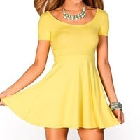 Brynn Yellow ALine Empire Waist Casual Short Sleeve Dress