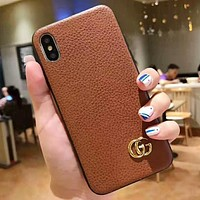 GUCCI Fashion New Leather Women Men Protective Cover Phone Case Brown