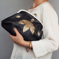 Evening frame leather clutch. Kiss lock purse.  Black gold leather clutch.