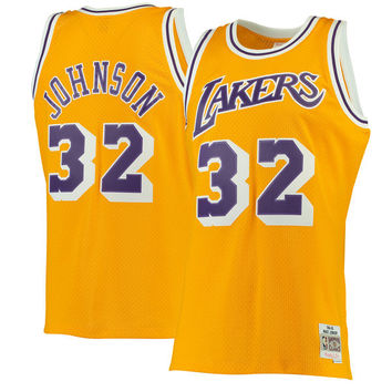 Men's Los Angeles Lakers Magic Johnson Mitchell & Ness Gold 1984-85 Hardwood Classics Swingman Jersey