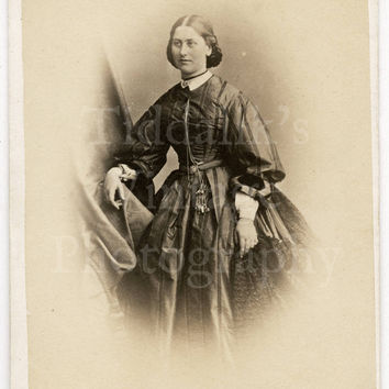 CDV Carte de Visite Photo Victorian Pretty Woman Wearing Striped Crinoline Dress (Annotated on Rear)  by J Andrews of Swansea Wales