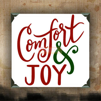 Comfort and Joy - Painted Canvases - wall decor - wall hanging - Christmas quotes on canvas - Christmas - Holidays