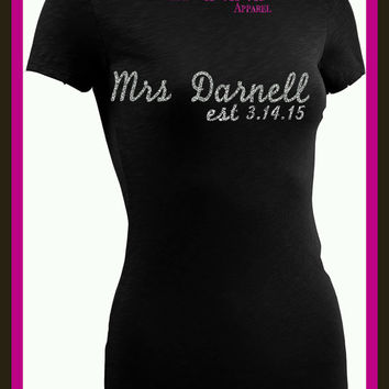 BLING Mrs. Bride shirt Name marriage Date Bling Glitter Bridal Tee Shirt Tank spark Custom Design your own custom colors